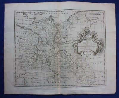 Original antique map NORTH EAST GERMANY, POLAND, BERLIN, SILESIA, Bowen, c.1770