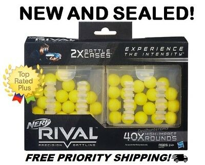 Genuine Nerf Rival 40-Round Battle Case, Lot of 5 (200 Rounds) Refill Ammo Balls