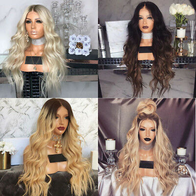 Fashion Womens Wig Blonde Brown Long Wavy Full Wigs Party Hair Wigs