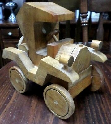 Car Wooden USA Handcrafted Handmade Vintage Model-Toy-Decoration