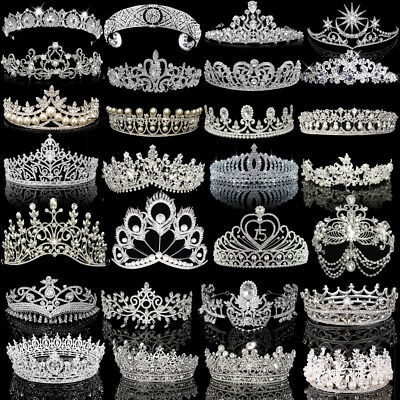 Silver White Bridal Wedding Crystal Tiara Crown Pearl Rhinestone Hair Band Prom