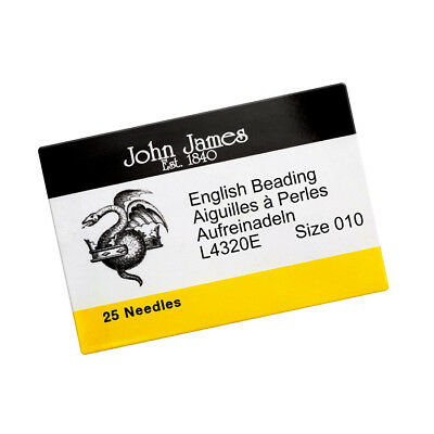 John James Size 10 English Beading Needles 55mm (PK25) (R81/4)