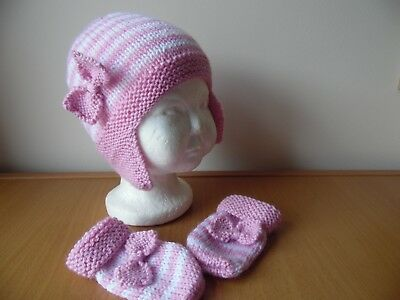 Hand knitted baby girls hat and mittens, pink/white, size 6-9 months