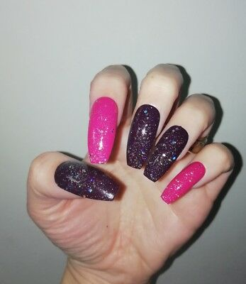 Hand Painted False Nails, Glam Pink Dark Purple Glitter, Coffin, Sparkle