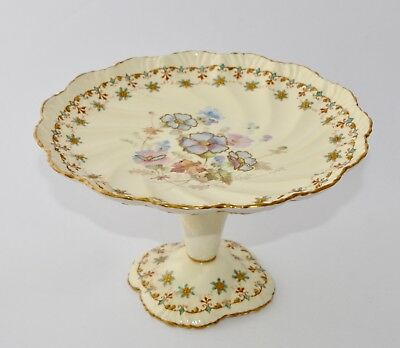 Antique POINTONS England Hand Painted Tall Footed Comport/Cake Stand - Pansies