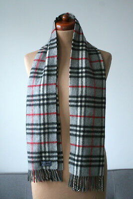 Burberrys Of London 100% Cashmere Luxury Checked Genuine Scarf Burberry  Made In 7fd62380fa4