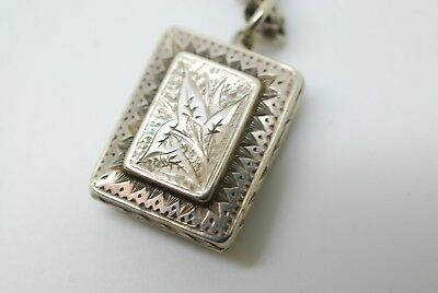 Antique Victorian Sterling Silver Aesthetic Locket Rectangular Heavy Chain 25 gr