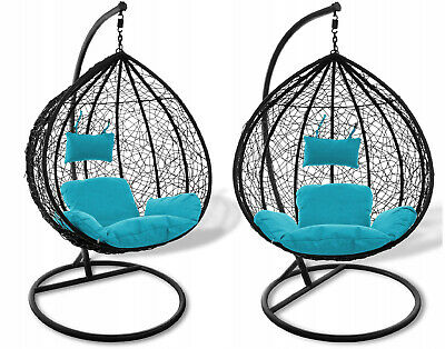 Rattan Hanging Swing Patio Garden Chair CALIFORNIA With Standing Frame + Cushion