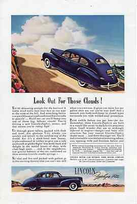 """1941 Lincoln Zephyr V-12 & Cadillac Body By Fisher Advertisement- 6 1/2"""" X 10"""""""