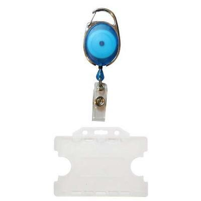 Customcard Retractable Badge Reel with Double Sided Opaque ID Card Holder - Blue