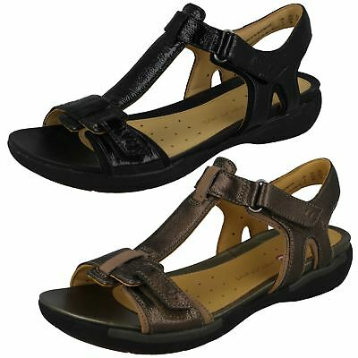 347f9593a301 Ladies Clarks Unstructured Open Toe Hook   Loop Leather Sandals Un Voshell