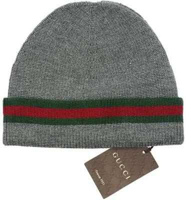 85ba588dded5d New Gucci Knit Wool Silk Web Detail Beanie Hat 100% Authentic 58 medium