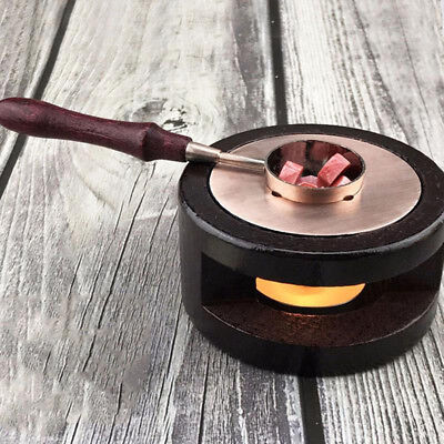 Retro Wooden Wax Seal Stamp Warmer Melting Spoon Kit Stamp w/Furnace Stove Pot K