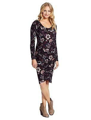 0b875ce295d6f New Jessica Simpson Maternity Long Sleeve Floral Ruched Dress Black  PinkPurple S
