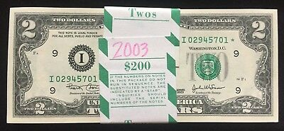 "$200 ""BEP Pack of 100"" Consecutive 2003* (I) $2 Minneapolis **STAR NOTE** FRNs!"
