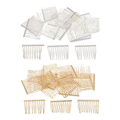 40pcs Metal Side Combs Sidecomb Hair Slides DIY Hair Jewelry Veil Fascinator