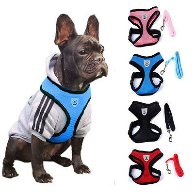 Pet Dog Cat Soft Mesh Lead Harness Strap Vest Safety Walk Collar Leash S M L UK