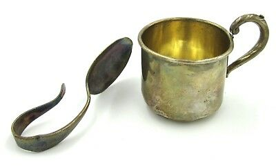Antique Sterling Silver Baby Christening Cup Monogrammed CRN & Spoon Community