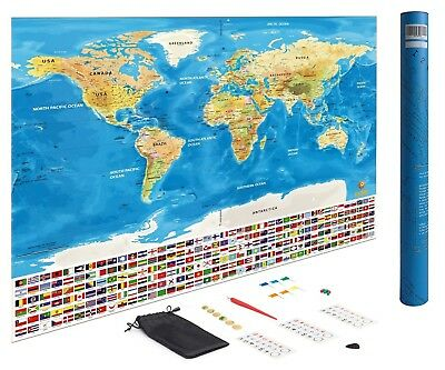 Scratch Off World Map Wanderlust Map Poster Travel Journal Large 82cm x 59cm