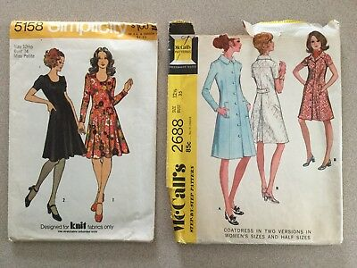 60s Vintage Sewing Patterns Miss Dress Coatdress Overcoat  Sz 12 Petite 12.5 Lot