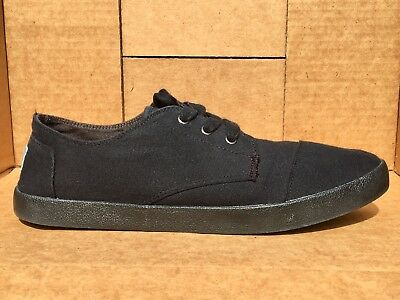 1eb986a1362 TOMS MENS BLACK Canvas Lace Up Sneakers Casual Shoes Sz 13 -  37.99 ...