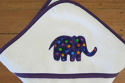 Handmade hooded baby towel with purple spotty elephant applique