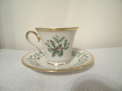 Lenox Holiday Dimension Footed Cup & Saucer Set with Gold Trim - Made in U.S.A.