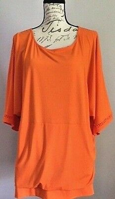 10c403a8835eb Peter Nygard womens orange Plus Size 3X top scoop neck short sleeve dolman  GUC
