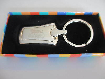 Vintage MGM GRAND Detroit Casino Keychain Leather with Brass Colored Emblem