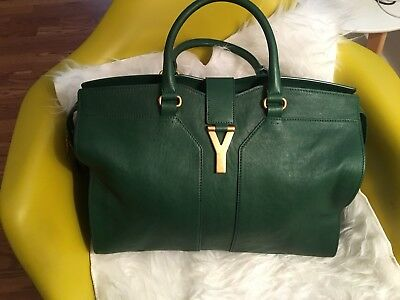 ac10b4125a1f Authentic Yves Saint Laurent YSL Cabas Chyc Y Large Tote Beautiful Green  Color