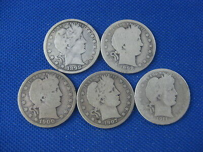 5 Coin Lot Barber Quarter 25 Cent Coins 1898 1898 D 1900 1907 O 1911 D
