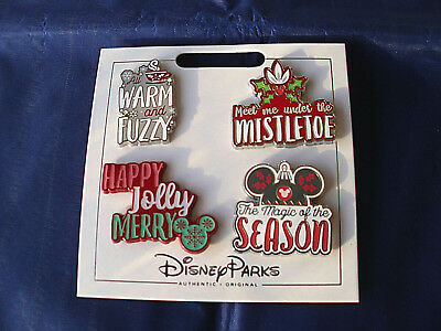 New Disney Parks * CHRISTMAS HOLIDAY GREETINGS * 4 Pin Set on Card Trading Pins