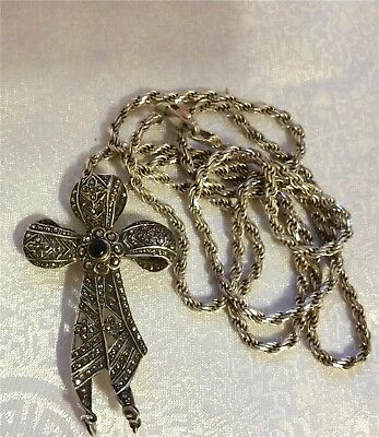 """Sterling Marcasite Bow Cross Diamond Cut Rope Chain 23"""" Necklace Pendant Pin 2pc"""