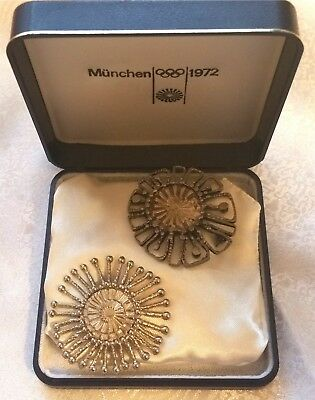 RARE 1972 Summer Olympics Pin Munich Brooch Collectors 2pc In Dated Original Box