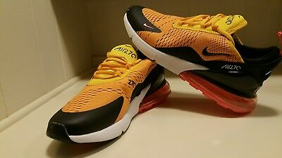 NIKE AIR MAX 270 Tiger Black University Gold Hot Punch White size 11 ... 6a0e4bb8f