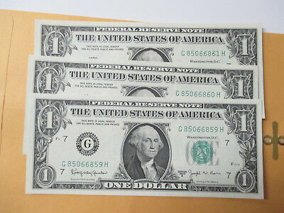 Lot Of3- 1963-B $1 Federal Reserve Notes  (Barr Notes) Consecutive #2