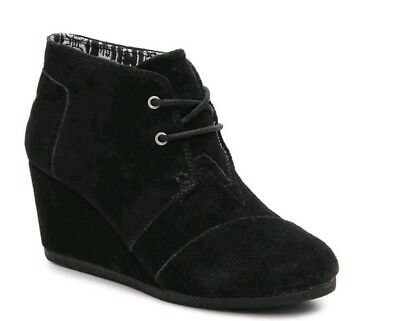 cde19a41749 SIZE 10 TOMS Desert Wedge Black Suede Booties -  40.00