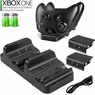 For XBOX ONE Dual Charging Dock Station Controller Charger+2 Battery 600mAh Pack