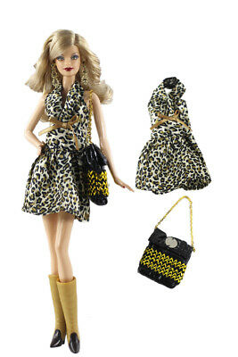 Black Little 2PCS Set Leopard-print dress +Black Bag For 30MM Barbie Doll
