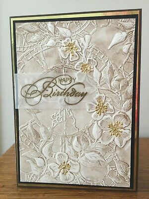 Gorgeous birthday card - 3D embossed background clock face & flowers gold detail