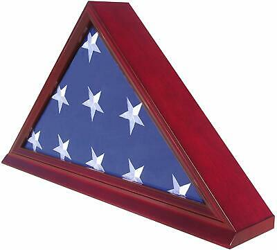 High Quality Burial/Memorial Flag Display Case for 5'X9.5' Folded, Solid wood