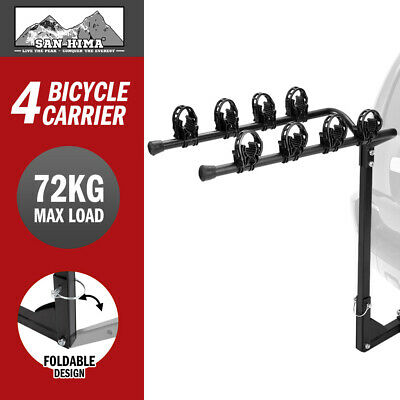 "4 Bicycle Carrier Bike Car Rear Rack 2"" TowBar Steel Foldable Hitch Mount"
