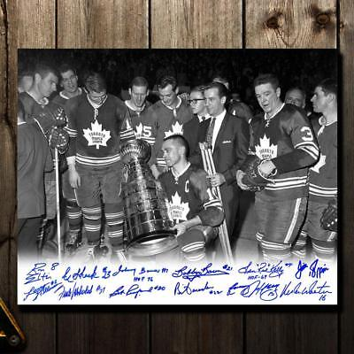 Toronto Maple Leafs 1967 Stanley Cup B&W Celebration Autographed 16x20 Signed by