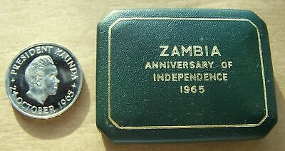 1965 Zambia - 5 Shillings - Independence Day - Proof - Royal Mint - Orig. Pkg