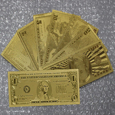 7Pcs/Set Gold Foil US Dollars Banknote Money Fake Currency Bill Collections