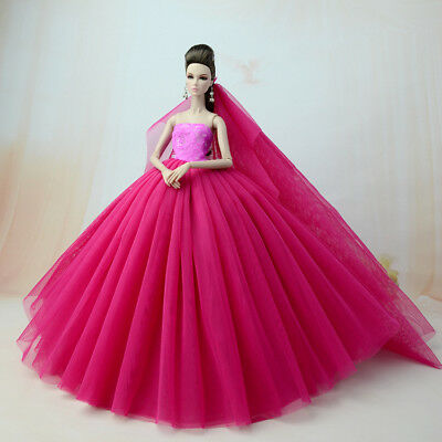 Big Rose Red Fashion Party Dress/Wedding Clothes/Gown+Veil For Barbie Doll Dress