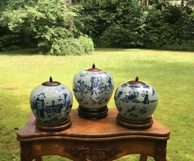 Three Antique Chinese porcelain Lidded Vases Jar on stand blue and White celadon