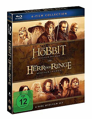 MITTELERDE Collection HERR DER RINGE +DER HOBBIT Trilogie 6 BLU-RAY Complete Box