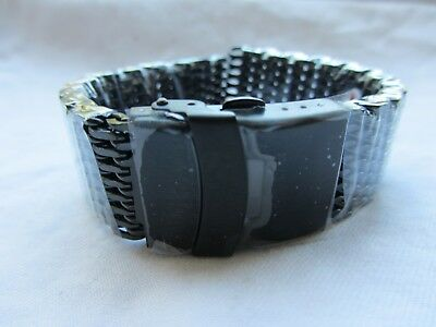 20mm Black Stainless Steel Shark Mesh Watch Band Bracelet Strap Safety Clasp BN