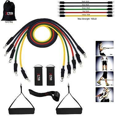 Xn8 Sports Exercise Resistance Bands [Up to 150lbs] Set Fitness Stretch 5...